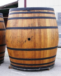 Traditional wooden beer barrel