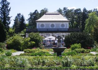 Rose Garden with Tea House at the Botanical Garden in Munich