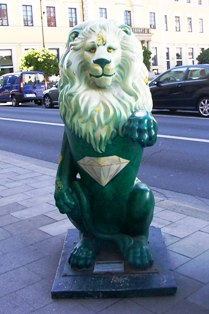 Lion in Munich decorated with emeralds
