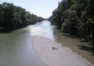Isar passing through the English Garden in Munich