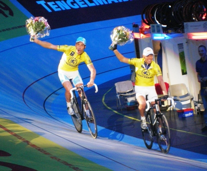 Erik Zabel and Leif Lampater in Yellow during Munich Sixdays 2007