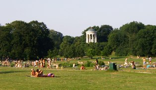 People from Munich, enjoying this hot summer day in the English Garden