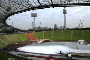 Munich olypic stadium being prepared for the Cross country skiing Muich Tour de Ski
