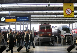 Two locomotives at central station Munich