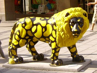 Yellow and Black Lion in Munich